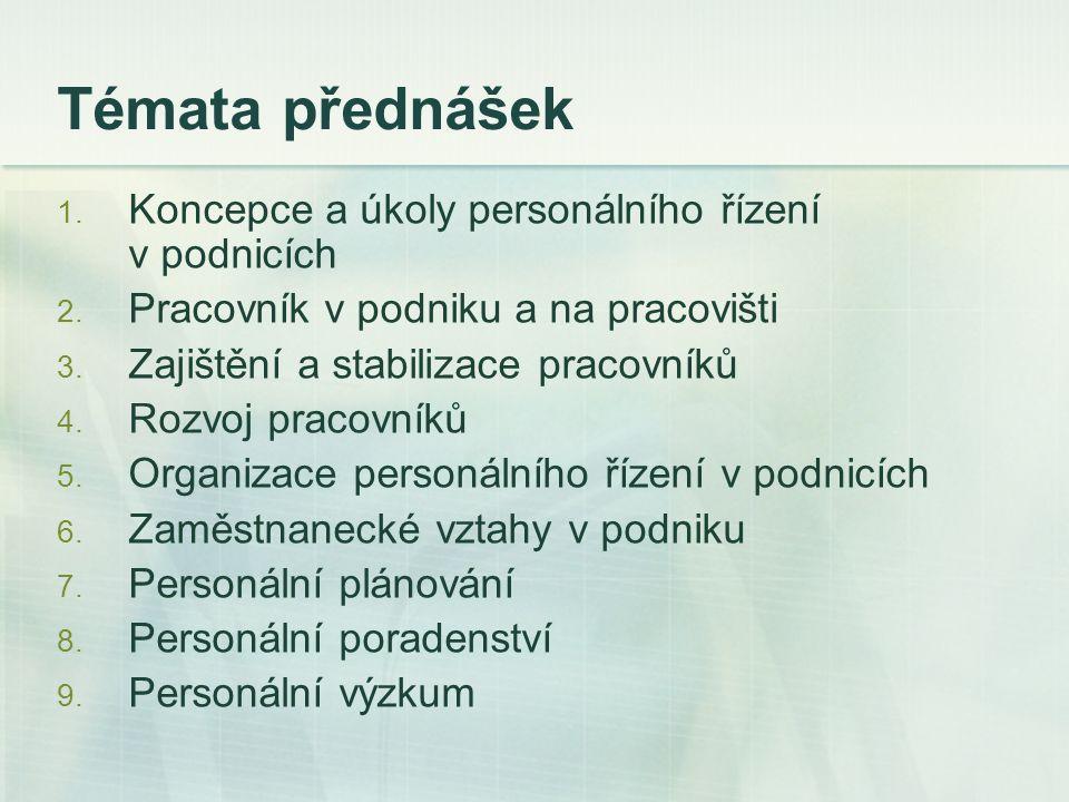 Témata přednášek Koncepce a úkoly personálního řízení v podnicích