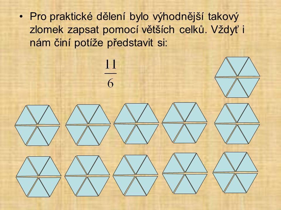 Pro praktické dělení bylo výhodnější takový zlomek zapsat pomocí větších celků.