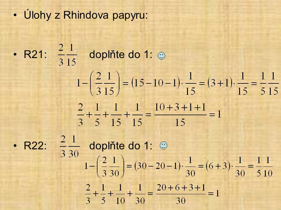 Úlohy z Rhindova papyru: