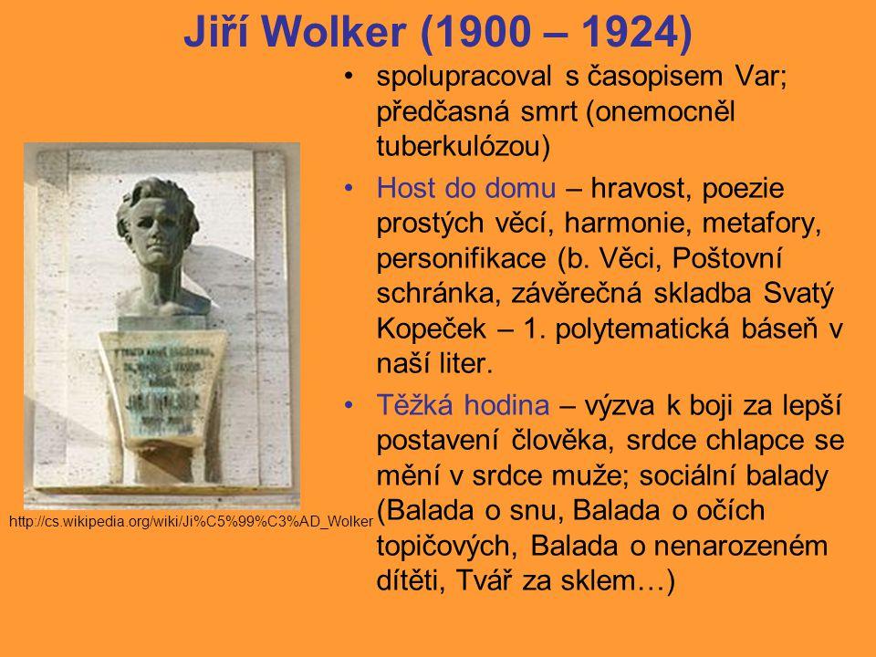 Jiří Wolker (1900 – 1924) spolupracoval s časopisem Var; předčasná smrt (onemocněl tuberkulózou)