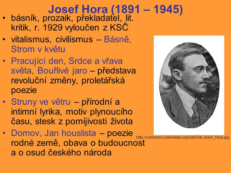 Josef Hora (1891 – 1945) básník, prozaik, překladatel, lit. kritik, r. 1929 vyloučen z KSČ. vitalismus, civilismus – Básně, Strom v květu.