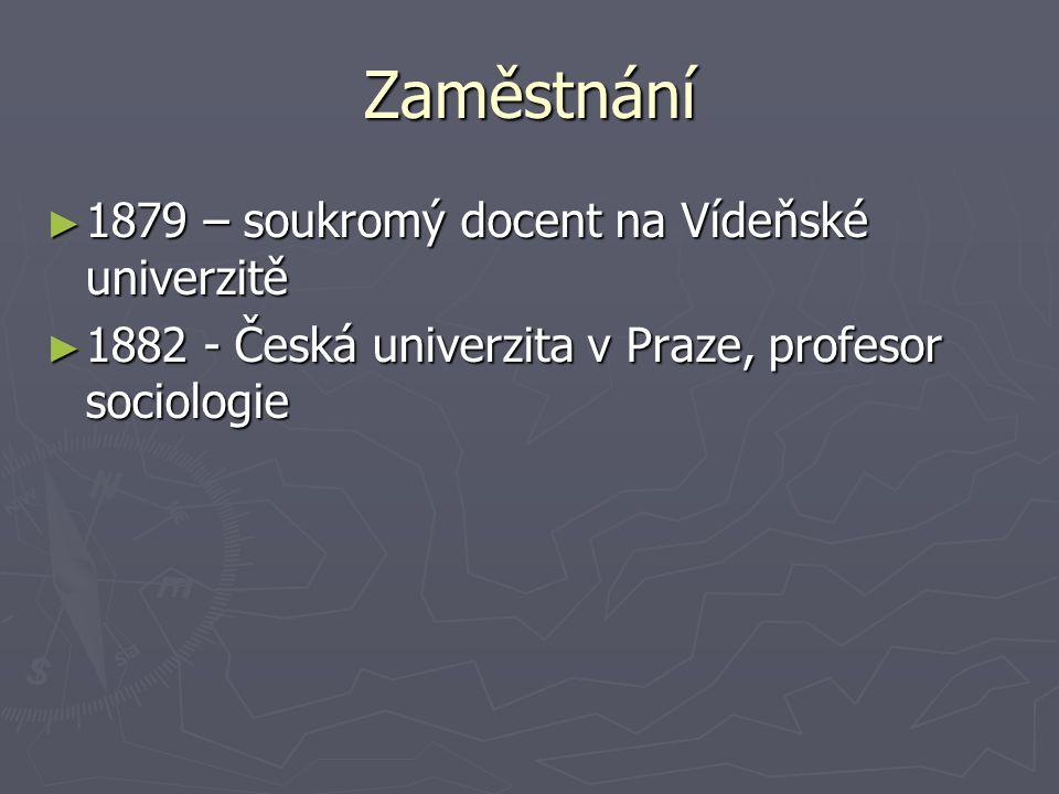 Zaměstnání 1879 – soukromý docent na Vídeňské univerzitě