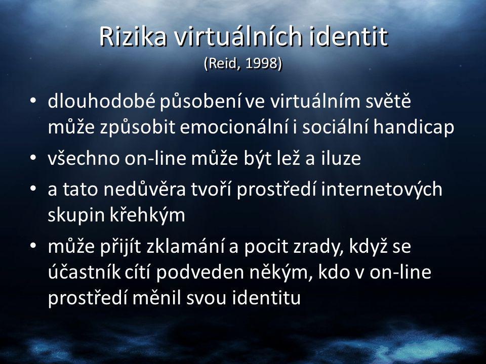 Rizika virtuálních identit (Reid, 1998)