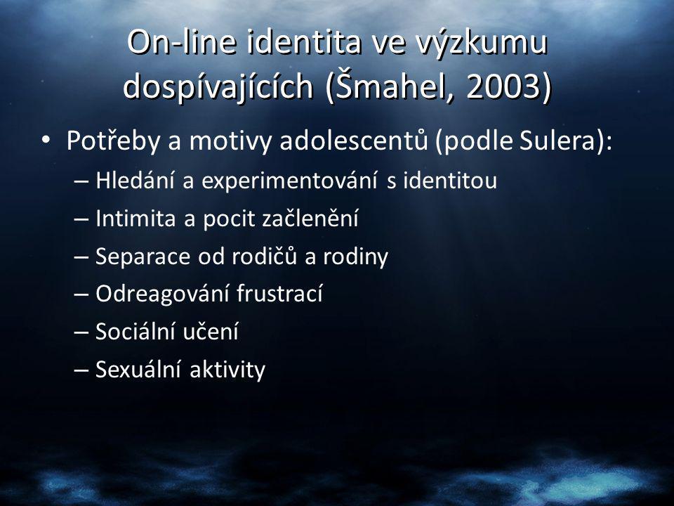 On-line identita ve výzkumu dospívajících (Šmahel, 2003)