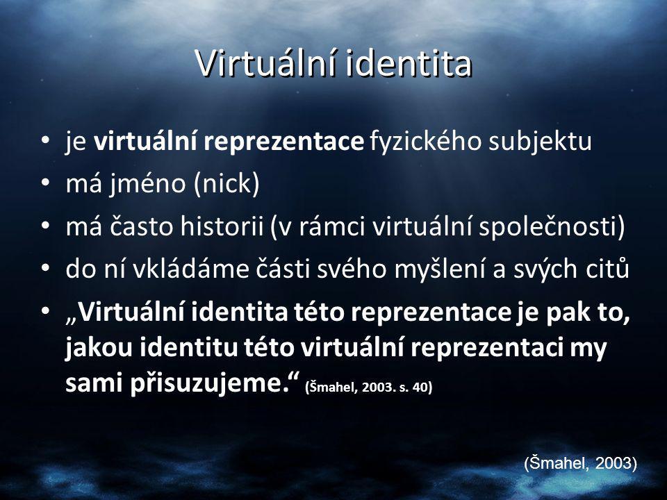 Virtuální identita je virtuální reprezentace fyzického subjektu
