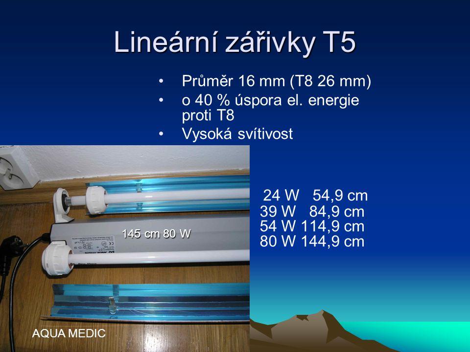 Lineární zářivky T5 Průměr 16 mm (T8 26 mm) o 40 % úspora el. energie proti T8. Vysoká svítivost.
