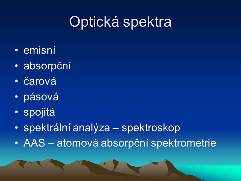Optická spektra emisní absorpční čarová pásová spojitá