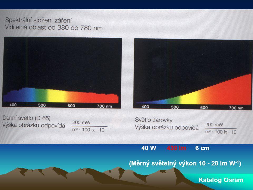 40 W 430 lm 6 cm (Měrný světelný výkon 10 - 20 lm W-1) Katalog Osram
