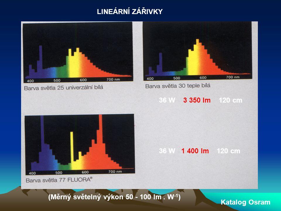 LINEÁRNÍ ZÁŘIVKY 36 W 3 350 lm 120 cm. 36 W 1 400 lm 120 cm. (Měrný světelný výkon 50 - 100 lm . W-1)