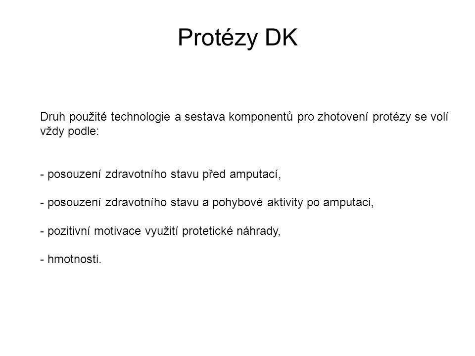 Protézy DK Druh použité technologie a sestava komponentů pro zhotovení protézy se volí. vždy podle: - posouzení zdravotního stavu před amputací,