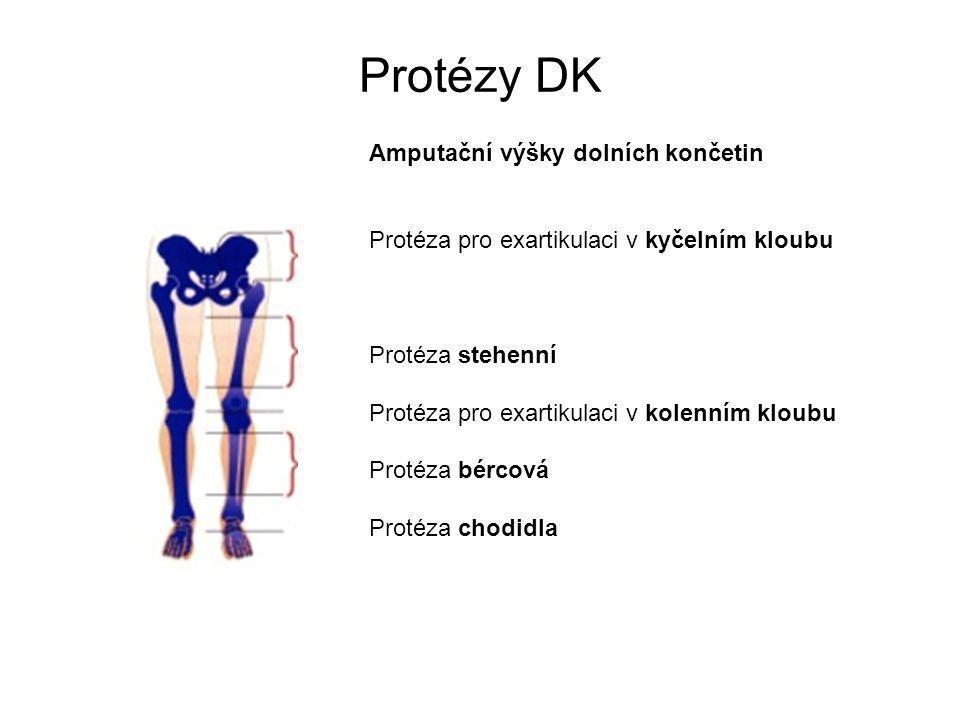 Protézy DK Amputační výšky dolních končetin Protéza pro exartikulaci v kyčelním kloubu. Protéza stehenní.