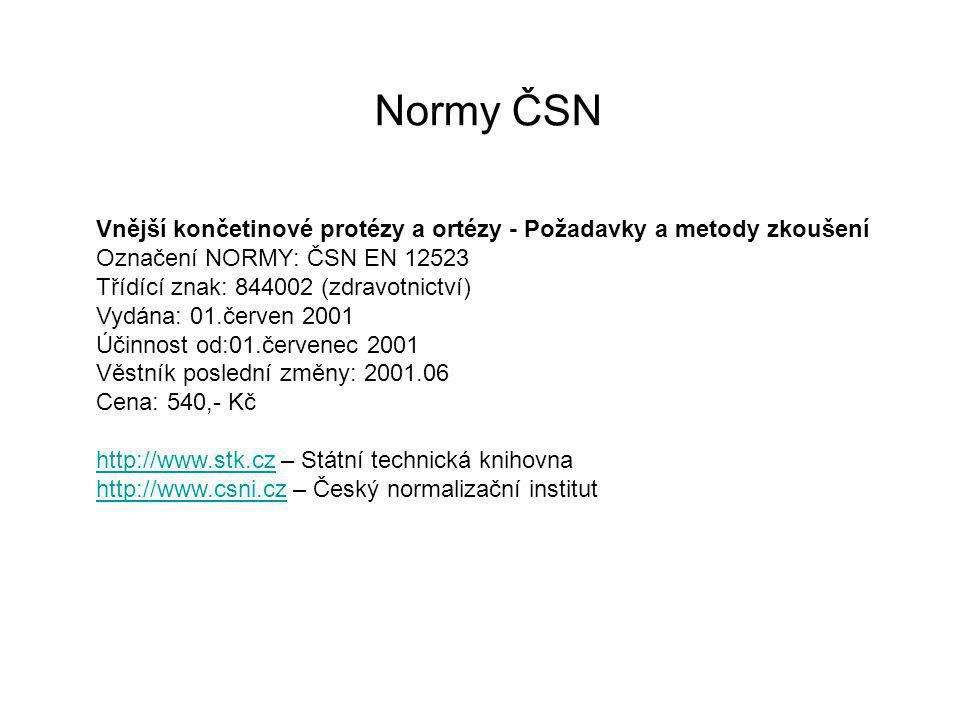 Normy ČSN Vnější končetinové protézy a ortézy - Požadavky a metody zkoušení. Označení NORMY: ČSN EN 12523.
