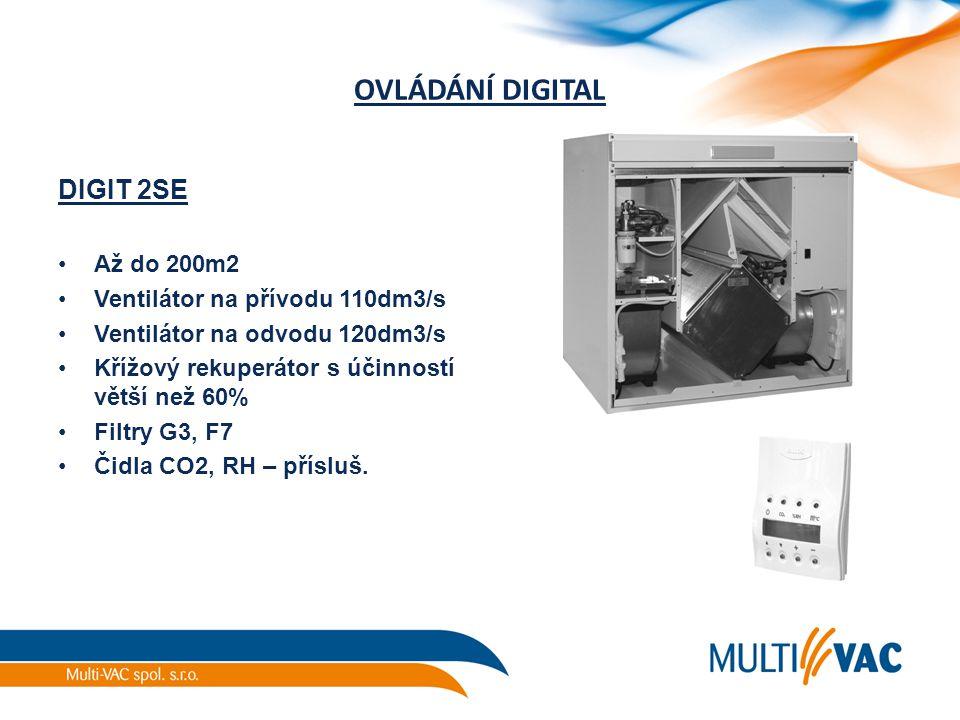 OVLÁDÁNÍ DIGITAL DIGIT 2SE Až do 200m2 Ventilátor na přívodu 110dm3/s