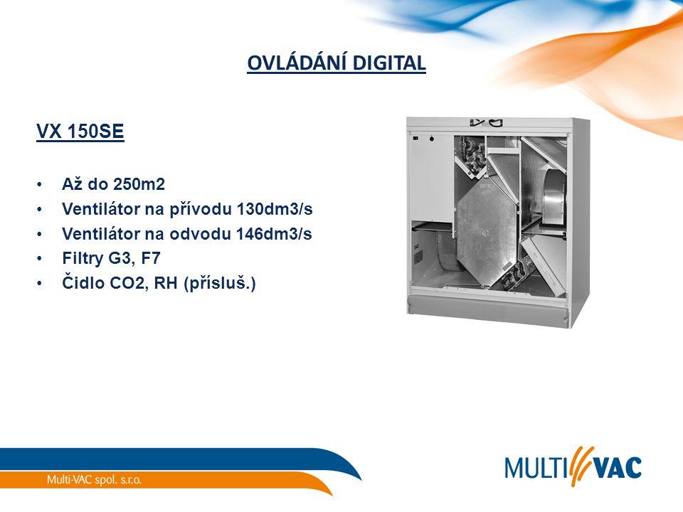 OVLÁDÁNÍ DIGITAL VX 150SE Až do 250m2 Ventilátor na přívodu 130dm3/s