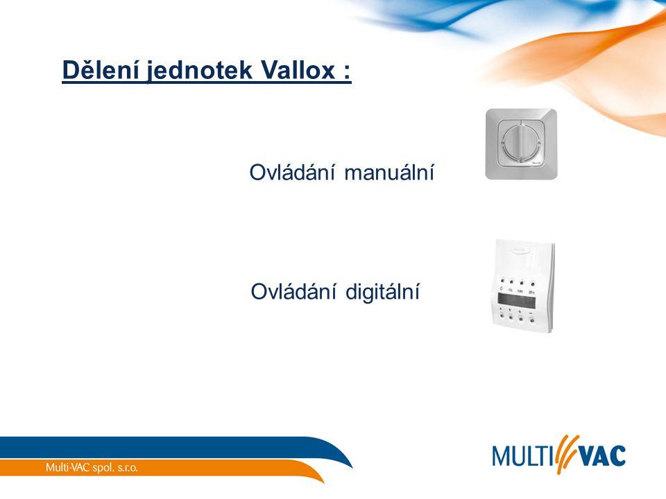 Dělení jednotek Vallox :