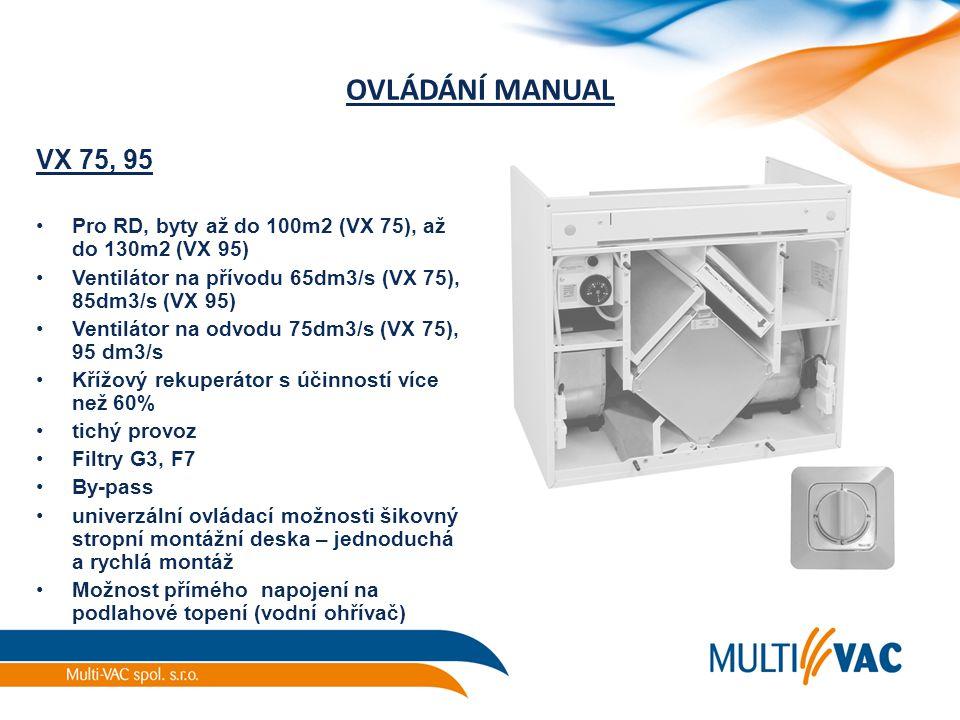 OVLÁDÁNÍ MANUAL VX 75, 95. Pro RD, byty až do 100m2 (VX 75), až do 130m2 (VX 95) Ventilátor na přívodu 65dm3/s (VX 75), 85dm3/s (VX 95)