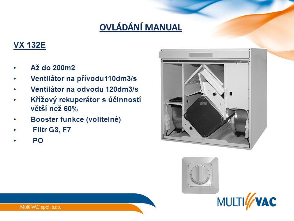 OVLÁDÁNÍ MANUAL VX 132E Až do 200m2 Ventilátor na přívodu110dm3/s