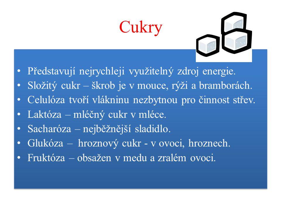 Cukry Představují nejrychleji využitelný zdroj energie.