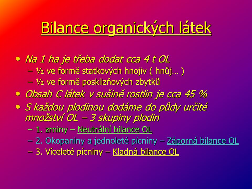 Bilance organických látek