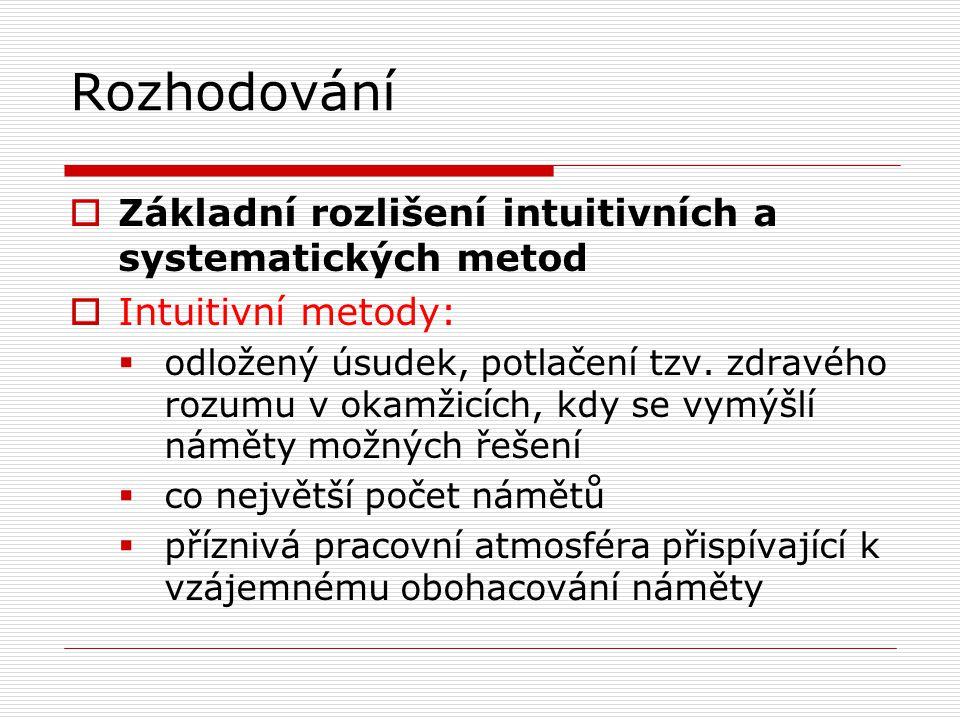 Rozhodování Základní rozlišení intuitivních a systematických metod