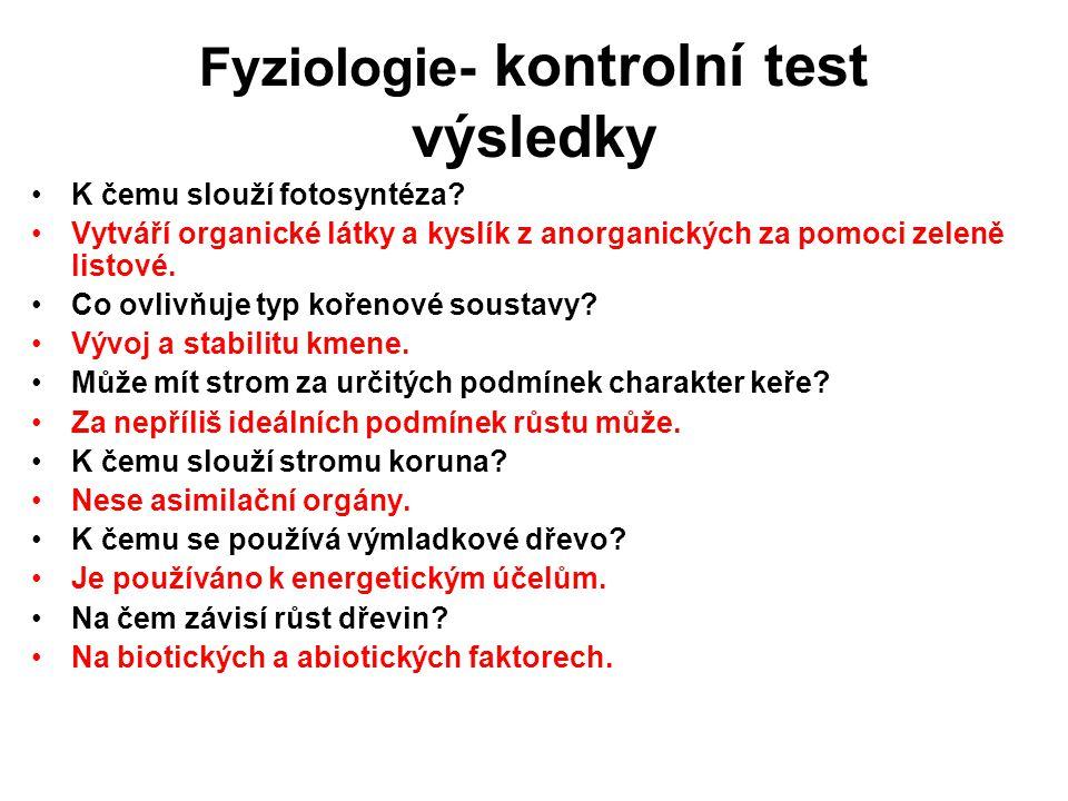 Fyziologie- kontrolní test výsledky