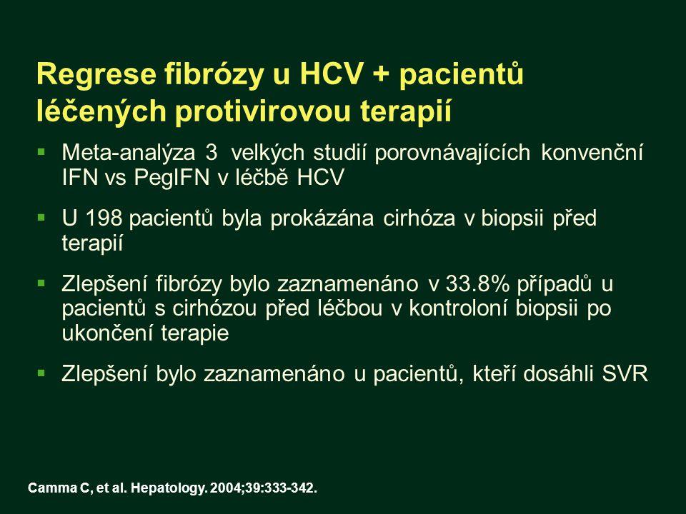 Regrese fibrózy u HCV + pacientů léčených protivirovou terapií