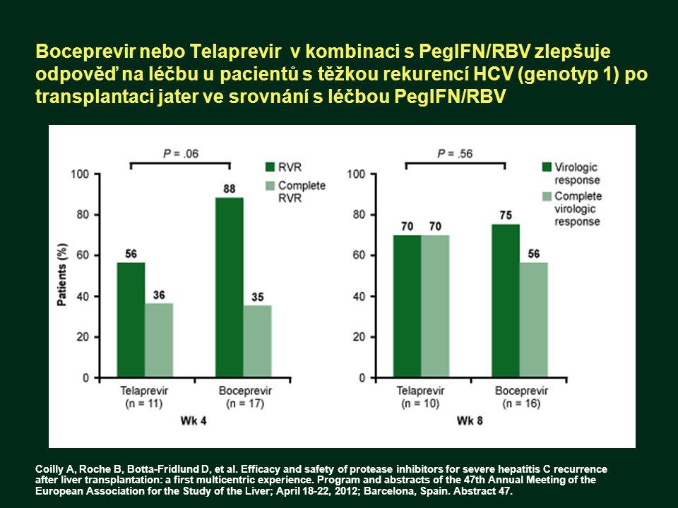 Boceprevir nebo Telaprevir v kombinaci s PegIFN/RBV zlepšuje odpověď na léčbu u pacientů s těžkou rekurencí HCV (genotyp 1) po transplantaci jater ve srovnání s léčbou PegIFN/RBV