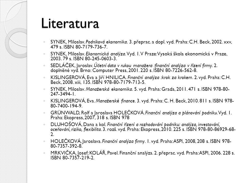 Literatura SYNEK, Miloslav. Podniková ekonomika. 3. přeprac. a dopl. vyd. Praha: C.H. Beck, 2002. xxv, 479 s. ISBN 80-7179-736-7.