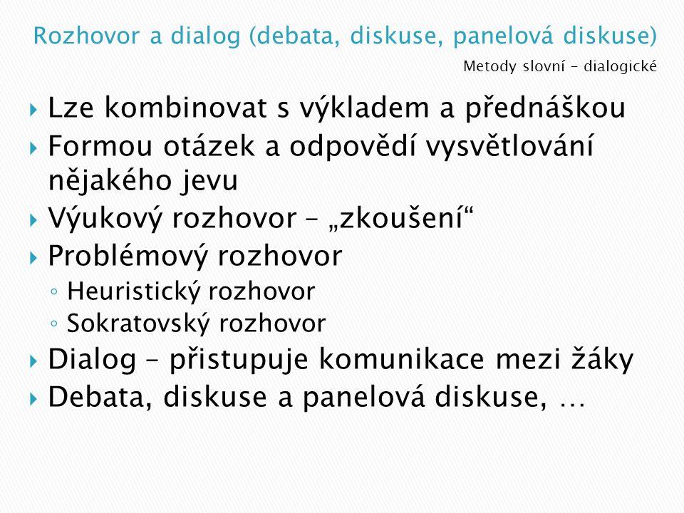 Rozhovor a dialog (debata, diskuse, panelová diskuse)