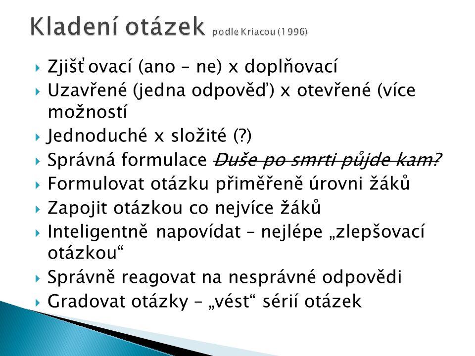 Kladení otázek podle Kriacou (1996)