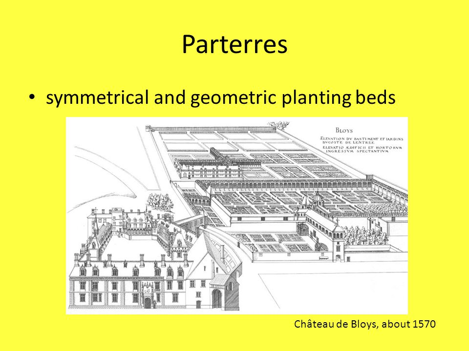 Parterres symmetrical and geometric planting beds