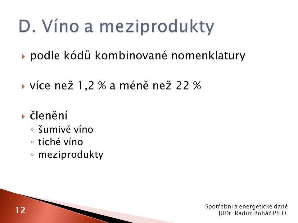 D. Víno a meziprodukty podle kódů kombinované nomenklatury
