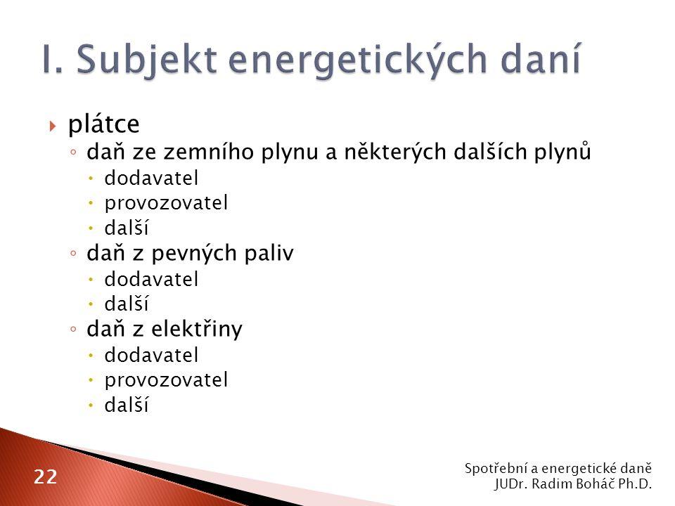 I. Subjekt energetických daní