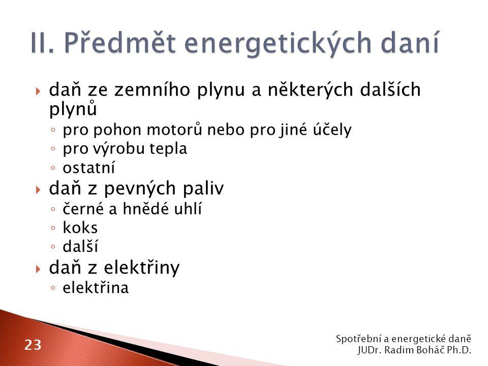 II. Předmět energetických daní