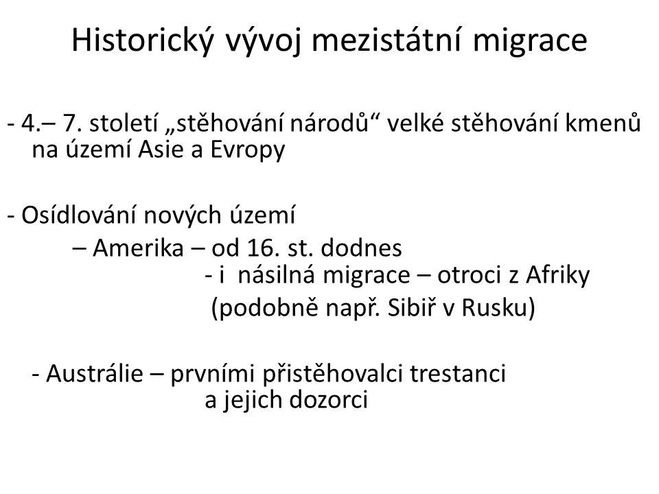 Historický vývoj mezistátní migrace