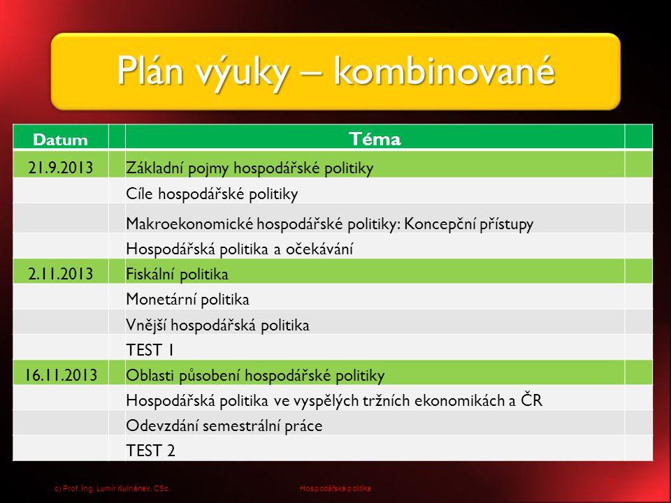 Plán výuky – kombinované