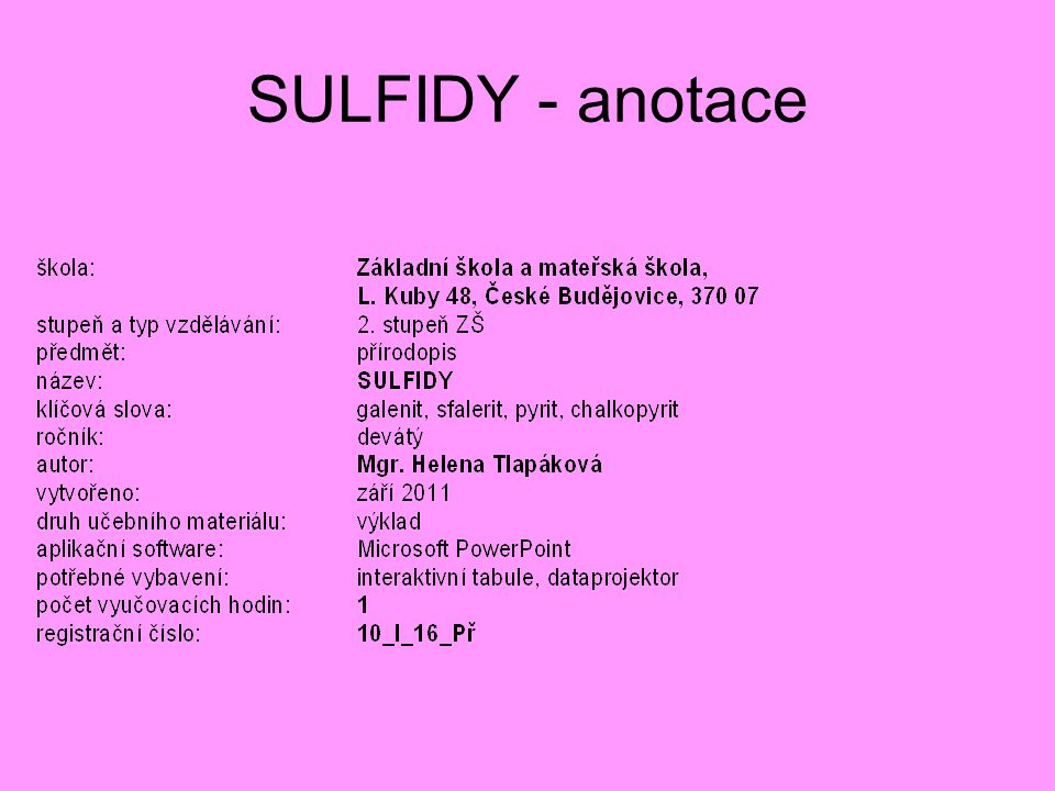 SULFIDY - anotace