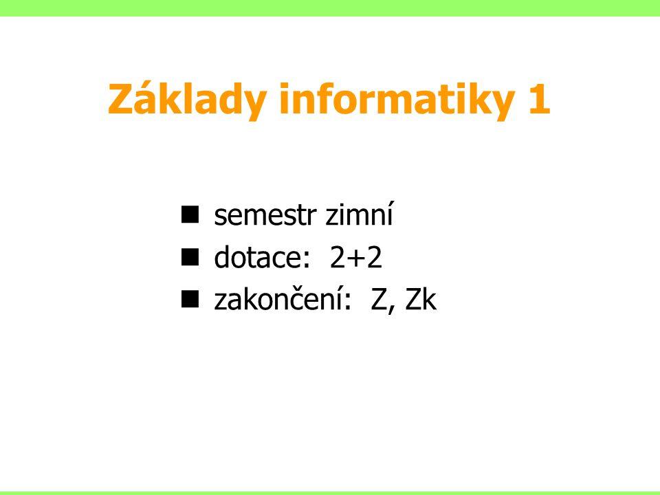 semestr zimní dotace: 2+2 zakončení: Z, Zk