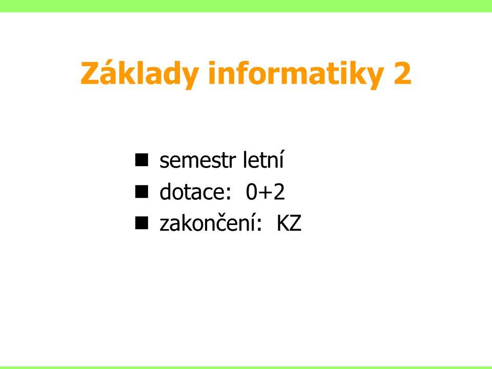 semestr letní dotace: 0+2 zakončení: KZ