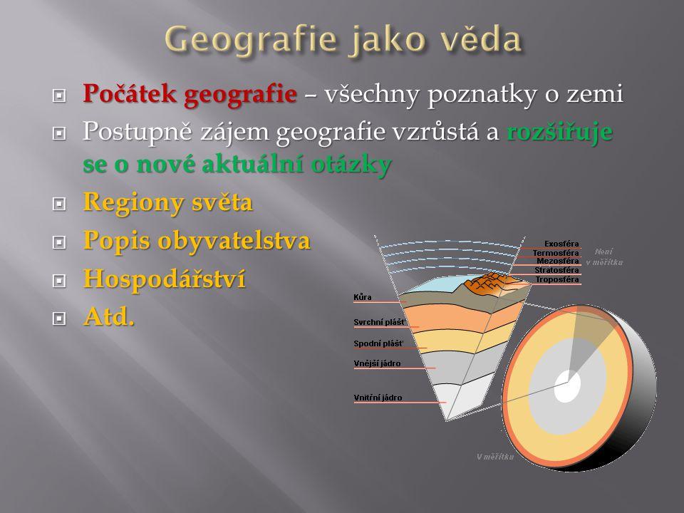 Geografie jako věda Počátek geografie – všechny poznatky o zemi