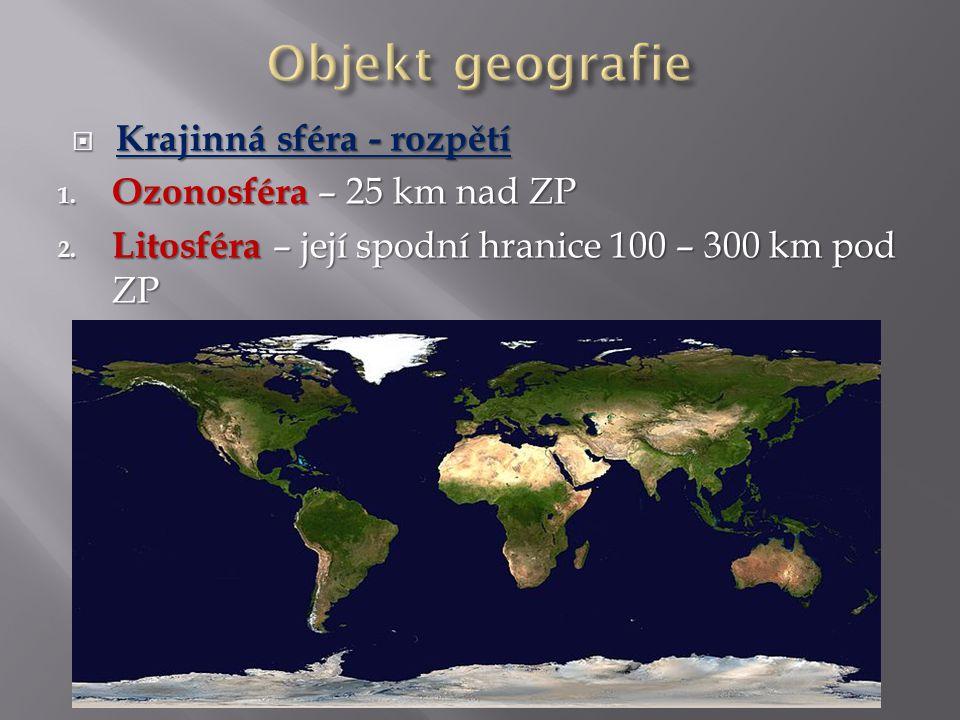 Objekt geografie Krajinná sféra - rozpětí Ozonosféra – 25 km nad ZP