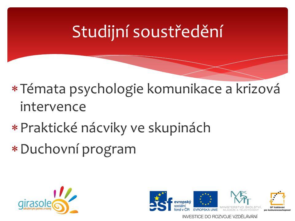 Studijní soustředění Témata psychologie komunikace a krizová intervence. Praktické nácviky ve skupinách.