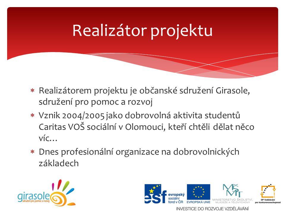 Realizátor projektu Realizátorem projektu je občanské sdružení Girasole, sdružení pro pomoc a rozvoj.