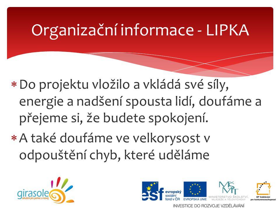 Organizační informace - LIPKA