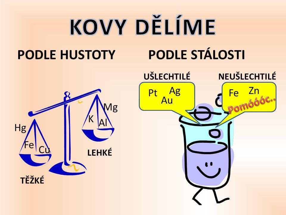KOVY DĚLÍME PODLE HUSTOTY PODLE STÁLOSTI Ag Zn Pt Fe Au Pomóóóc.. Mg K