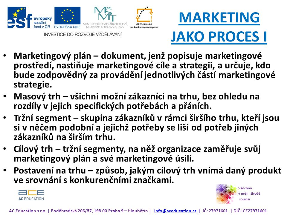 MARKETING JAKO PROCES I