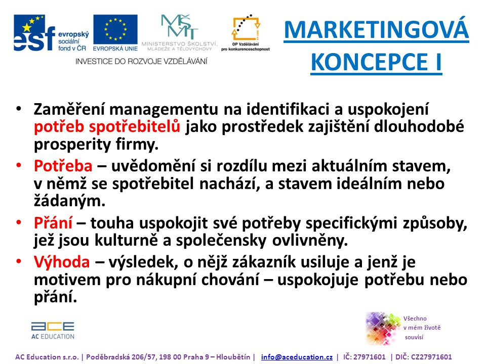 MARKETINGOVÁ KONCEPCE I
