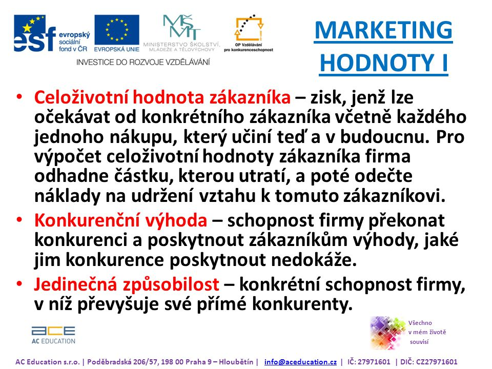 MARKETING HODNOTY I