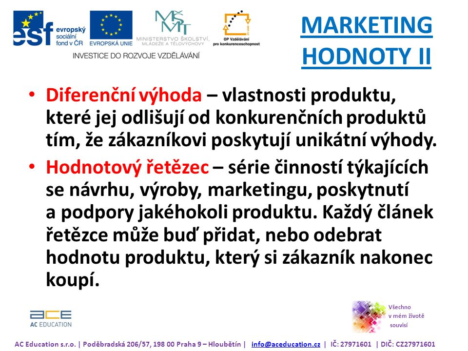 MARKETING HODNOTY II