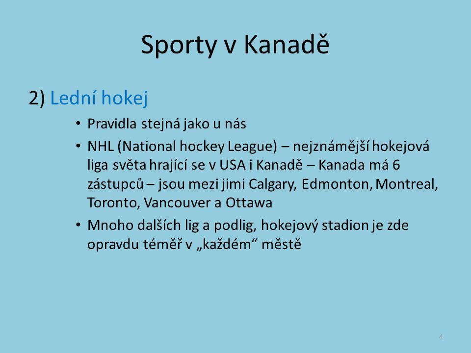 Sporty v Kanadě 2) Lední hokej Pravidla stejná jako u nás